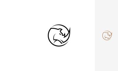 Rhinoceros, captive breeding, emblem symbol icon vector logo