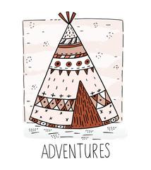 Hand drawn vector illustration with tee pee wigwam, North American Indian teepee