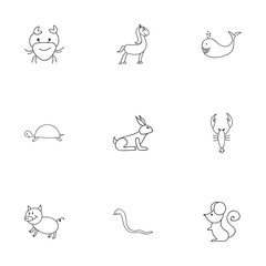 Set Of 9 Editable Zoology Icons. Includes Symbols Such As Lobster, Pony, Rabbit And More. Can Be Used For Web, Mobile, UI And Infographic Design.