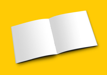 Open White Blank Brochure Magazine Booklet for Mockup