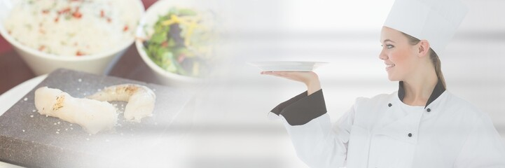 Chef holding plate with elegant dinner food transition