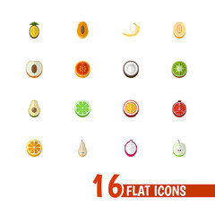 Set Of 16 Editable Berry Icons. Includes Symbols Such As Nectarine, Lemon, Garnet And More. Can Be Used For Web, Mobile, UI And Infographic Design.