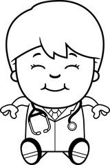 Cartoon Child Doctor Sitting
