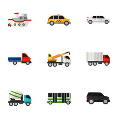 Set Of 9 Editable Car Icons. Includes Symbols Such As Hoisting Machine, Hatchback, Boat And More. Can Be Used For Web, Mobile, UI And Infographic Design.