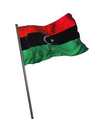 Libya Flag Waving Isolated on White Background Portrait