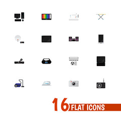 Set Of 16 Editable Technology Icons. Includes Symbols Such As Personal Computer, Tuner, Appliance And More. Can Be Used For Web, Mobile, UI And Infographic Design.