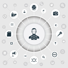Vector Illustration Set Of Simple Photograph Icons. Elements Light Level, Rim, Photo Tape And Other Synonyms Charge, Strip And Battery.
