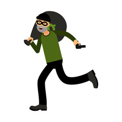 Professional masked robber character running with a gun and money bag vector Illustration