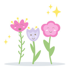 Funny happy vector flowers. Three cartoon smiley blushed characters on white background isolated.