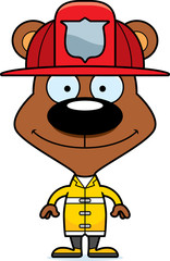 Cartoon Smiling Firefighter Bear