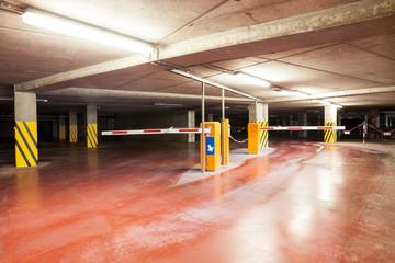 an underground garage whit barrier
