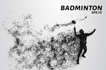 Badminton consists of particles. Vector graphics are an athlete hits the racket and the shuttlecock
