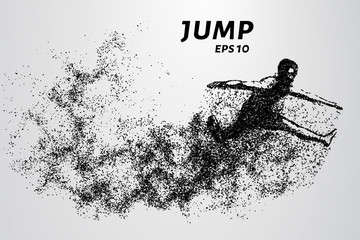 Jump from the particles. Jumper consists of small circles.