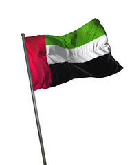 United Arab Emirates Flag Waving Isolated on White Background Portrait