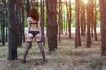 Attractive young woman in lingerie posing on nature, view from behind, free space.