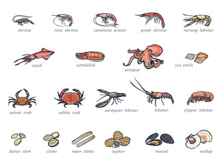 Icon set of marketable seafood hand drawn style