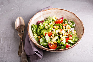 Salad with fresh vegetables and chickpeas