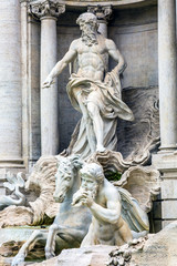 Neptune Nymphs Statues Trevi Fountain Rome Italy