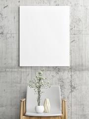 Mock up poster above wooden chair, Scandinavian design, 3d illustration