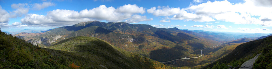 Panorama of Cannon Mountain in Franconia Notch State Park in White Mountain National Forest, New Hamphire, USA.