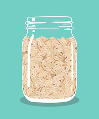 Oat flakes in glass vintage mason jar. Healthy natural breakfast. Portion of oats in a jar. Vector hand drawn illustration.