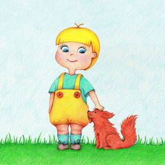 hand drawn illustration of little boy and red puppy look on each other in a garden  in summer by the color pencils