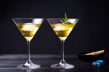 Marijuana cocktails against black background