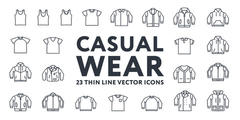 Thin Line Stroke Casual Sportswear Menswear Clothes Vector Icons Set: T-shirt, Tank top, Polo, Sweater, Sweatshirt, Cardigan, Leather Jacket, Bomber, Hoodie, Pea Coat.
