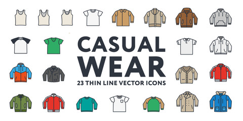 Thin Color Line Stroke Casual Sportswear Menswear Clothes Vector Icons Set: T-shirt, Tank top, Polo, Sweater, Sweatshirt, Cardigan, Leather Jacket, Bomber, Hoodie, Pea Coat.