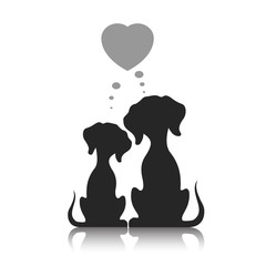 Dogs dream of love, a vector illustration.