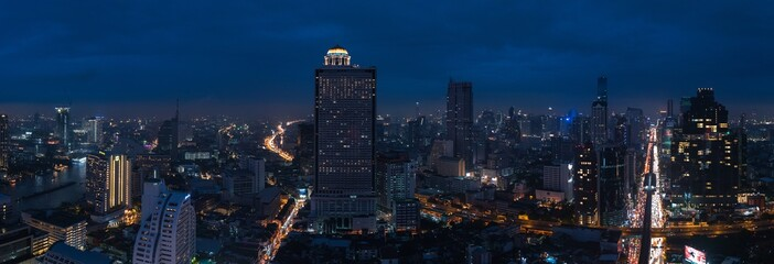 Cityscape of business zone in Bangkok at night