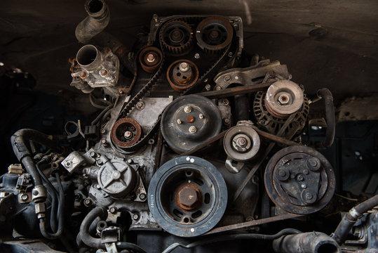 Old car engine in junkyard