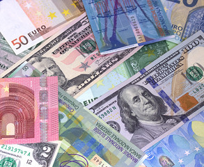 Abstract dollar euro and swiss franc background.