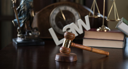 Symbol of Law on Lawyer's desk