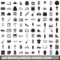 100 miscellaneous goods icons set, simple style