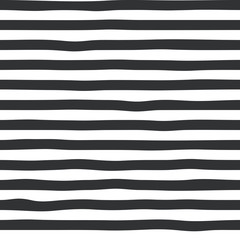 Hand drawn black strips seamless pattern