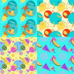 Seamless color trendy patterns set with watermelons and palms, geometric shapes, fashion vector backgrounds