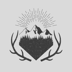 Vinage style. Deer horn, landscape. Vector.
