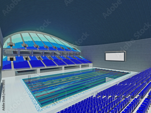 indoor olympic swimming pool arena with blue seats - Indoor Olympic Swimming Pool