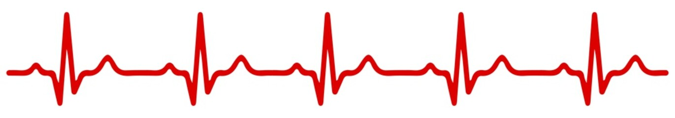 Heart pulse, one line, cardiogram - vector