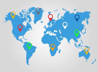 World map. Location. Vector.