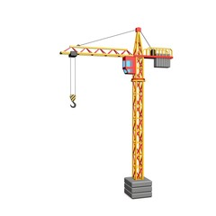 Tower crane. Isolated on white background. 3D rendering illustration.