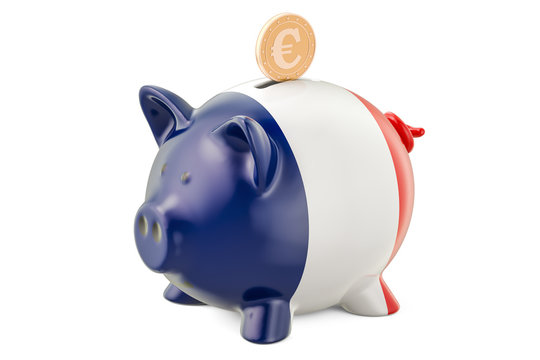 Investments in the France. Piggy bank with flag and golden euro coin, business concept. 3D rendering