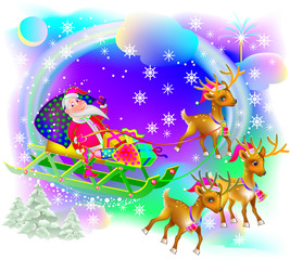 Christmas greeting card with funny Santa Claus, vector cartoon image.