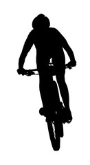 Front profile silhouette of female mountain bike racer