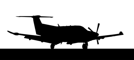Side profile of a Pilatus-PC12 single prop aircraft