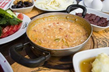 Turkish Breakfast menemen in a pan