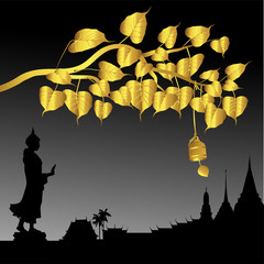 Buddha statue and Gold Bodhi tree with Golden bell of thai tradition, Visakha Puja Day