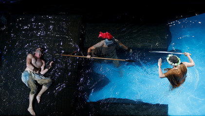 """Actors from Unifaun Theatre take part in an adaption of Roman poet Ovid's """"Metamorphoses"""" during the Malta International Arts Festival at Fort St Elmo in Valletta"""