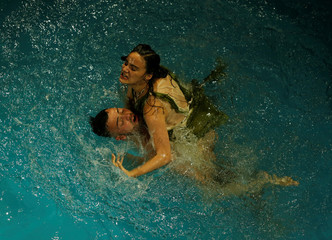 """Actors from Unifaun Theatre take part in an adaption of Roman poet Ovid's """"Metamorphoses"""" during the Malta International Arts Festival at Fort St Elmo in Valletta, Malta"""
